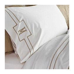 "Frontgate - Resort Embroidered Stripe Sheet Set - MicroCotton is a patented finishing process for superfine long-staple cotton that results in an ultra-soft hand and drape. Sateen weave feels lightweight and luxurious on the skin. Coordinates with our solid Resort Bedding Collection. Set includes a flat sheet, fitted sheet and two pillowcases. Flat sheet and pillowcases have embroidered trim. Inspired by the linens on the finest, five-star hotel beds, our exclusive Resort Embroidered Stripe Bedding is a luxury to enjoy at home every night. Sateen woven of long-staple cotton using the proprietary MicroCotton process, the flat sheet and pillowcases are elegantly framed with a double row of satin stitching. . . . . . Bright white cotton pillowcases also incorporate box detail for monogram. The fitted sheet has a 16"" deep pocket to fit luxury mattresses. Retain their luster and softness wash after wash. Machine wash."