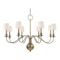 Hudson Valley - 8 Light ChandelierCohasset Collection - Slender arms, sveltely curved, simplify this colonial classic.  Cohasset's sensual form is welcome flair for an otherwise understated interior.  As Old World refinement adapted to the new frontier, Cohasset transposes a treasured look to today's less rigi
