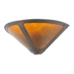 "Meyda Tiffany - Meyda 17""W Van Erp Amber Mica Wall Sconce - In the tradition of American master craftsman Dirk Van Erp, this appealing wall sconce with a hand washed Mahogany Bronze frame glows with the warmth of the natural Amber mica panels within."