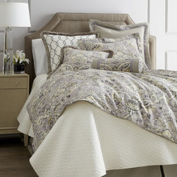 "Legacy Home ""Archival Urn"" Bed Linens - We search out new fabrics each season, choosing patterns we think will look stunning as bed linens. The pretty quartz background and relaxed, antique feel of ""Archival Urn"" got our attention instantly."