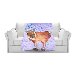 DiaNoche Designs - Throw Blanket Fleece - Marley Ungaro Reindeer Purple - Original Artwork printed to an ultra soft fleece Blanket for a unique look and feel of your living room couch or bedroom space.  DiaNoche Designs uses images from artists all over the world to create Illuminated art, Canvas Art, Sheets, Pillows, Duvets, Blankets and many other items that you can print to.  Every purchase supports an artist!