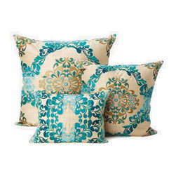 Kim Seybert Teal Brocade Throw Pillows - These rich brocade pattern on these throw pillows will add a wonderful texture to your sofa or bedding.