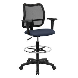 Flash Furniture - Flash Furniture Mid-Back Mesh Drafting Stool with Navy Blue Fabric Seat and Arms - Drafting stools are useful in environments where you need more height options than a regular task chair can provide. chair features a breathable mesh back and navy blue fabric seat. The modern design of the back will add a contemporary look to your office space. This drafting stool can be used for multiple purposes in many environments. [WL-A277-NVY-AD-GG]