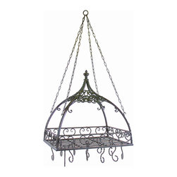 IMAX Worldwide - IMAX Worldwide Domed Pot Rack w/ Hooks - Traditional wrought iron domed pot rack with hooks features open metal-work design