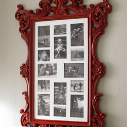 Wooden Collage Frame - This is such a cool baroque-style frame. I love the idea of showcasing just black and white photos, as shown here. It would also be cool to turn this into a mirror.