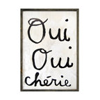 Kathy Kuo Home - Oui Oui Cherie - Yes Yes Darling Reclaimed Wood Wall Art Print - Designed by a husband and wife team, our giclee prints are inspired by the ones we love. Motifs comes from family, nature, animals, old things, children's art and folk art. All prints are hand painted first, and then giclee printed in the Blue Ridge Mountains of North Georgia.