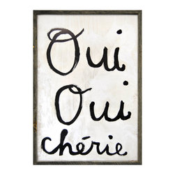 Kathy Kuo Home - Oui Oui Cherie Wood Wall Art Print - Designed by a husband and wife team, our giclee prints are inspired by the ones we love. Motifs comes from family, nature, animals, old things, children's art and folk art. All prints are hand painted first, and then giclee printed in the Blue Ridge Mountains of North Georgia.