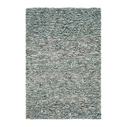 Safavieh - Safavieh Leather Shag Rug with Light Blue X-4-L115GSL - Add a modern twist to any room with this elegantly handcrafted shag rug. Constructed from superior quality leather making it aesthetically pleasing and super-soft in feel.