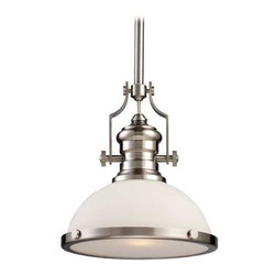 Pendant Light with White Glass in Satin Nickel Finish -
