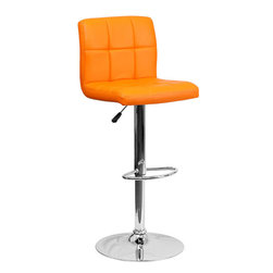 Flash Furniture - Orange Quilted Vinyl Adjustable Height Bar Stool with Chrome Base - This sleek dual purpose stool easily adjusts from counter to bar height. The simple design allows it to seamlessly accent any area in the home. Not only is this stool stylish, but very comfortable to provide you with an amazing sitting experience! The easy to clean vinyl upholstery is an added bonus when stool is used regularly. The height adjustable swivel seat adjusts from counter to bar height with the handle located below the seat. The chrome footrest supports your feet while also providing a contemporary chic design.