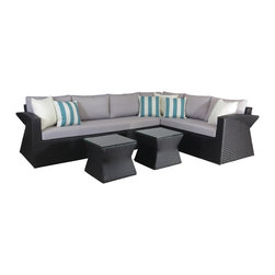 Su-zanne - Del Mar OUTDOOR wicker sectional sofa set - Modern comfort all weather resin wicker sectional, 6 seater, deep seated, with gently curved arms and sides for leisure relaxing. Includes sectional sofa, coffee table with glass (can be used for side tables), 3 cream accent pillows, 3 stripped teal accent pillows.