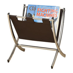 Monarch - Dark Brown Leather-Look/Chrome Metal Magazine Rack - Warm up your home with this fashion forward brown leather-look and chrome magazine rack. Ample storage for remote controls, books, magazines and much more.