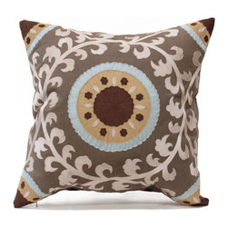Istanbul Pillow - A magnificent mandala of leafy vines and lively rayed circles creates the formal but active design hand-embroidered on the iron-grey linen of the Istanbul Pillow.  The ornamented corners and round centerpiece are crafted in a dynamic palette of custard, seafoam, and ivory; the cool, creamy silhouette of the vine crown that wreathes the center field has a dramatic contrast.  Place this beautiful pillow with its natural feather stuffing in any room that needs a hint of wordly elegance.