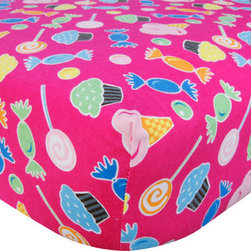 """Trend Lab - Crib Sheet - Candy Print Flannel - Your child's bed will be soft and cozy with this Candy Print Flannel Fitted Crib Sheet by Trend Lab. Sheet features a scatter print of ice cream cones, cupcakes, hard candy, and gumdrops in carnation pink, mandarin orange, turquoise, lemon, electric lime, cyan, and chocolate on a paradise pink background. Sheet features 7"""" deep pockets and fits a standard 52"""" x 28"""" crib mattress. Elastic around entire opening and elastic sheet straps sewn in each corner ensures a more secure fit. Coordinates with the Candy collection by Trend Lab."""