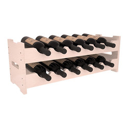 12 Bottle Mini Scalloped Wine Rack in Pine with White Wash Stain + Satin Finish - Stack two 6 bottle scalloped racks for a decorative 12 bottle rack using pressure-fit dowels for easy assembly. Makes for a perfect gift and stores wine on any flat surface.