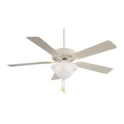 Minka Aire - Minka Aire Contractor Unipack Ceiling Fan in Shell White - Minka Aire Contractor Unipack Model F548-SWH in Shell White with Shell White Finished Blades. Integrated light fixture for contractor unipack comes with etched swirl or excavation glass (depending on fan finish).