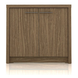 Manhattan Comfort - Hamilton Cabinets, Walnut - The Hamilton cabinet is the perfect compliment to our Hamilton line. With two doors that conceal spacious shelves,  this cabinet can hold office supplies, files or miscellaneous items. It is the perfect height for displaying knicknacks or pretty flowers to brighten up your office. The unique paint is protected by the Microban Antibacterial Protection.
