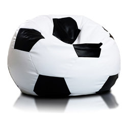Turbo BeanBags - Beanbag Soccer - M, White and Black, Filled Bag - The Soccer Ball Beanbag is one of the newest products from Turbo BeanBags. Because of its size it's a comfortable chair to sit for a child or make a great addition to a children's room decor. An amazing gift for kids by its innovative design.