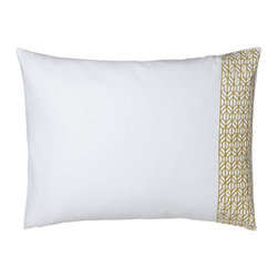 Horchow - Standard Obi Sham - White cotton bed linens are embellished with wide borders of antique-green embroidery for a simple but striking look. Throw pillows in a myriad of colors and patterns add interest. Obi bedding is imported. Machine wash. Pillows have feather/down inse...