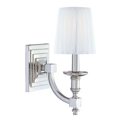 """Metropolitan - Metropolitan Sconce Collection 5 1/2"""" High Wall Sconce - The Metropolitan Sconce Collection offers a variety of gorgeous yet unpretentious styles for everyday luxurious living. A polished nickel finish frame is complemented by a white pleated shade. Polished nickel finish. White pleated shade. Takes one 60 watt bulb (not included). 5 1/2"""" wide. 14 1/2"""" high. Extends 9 1/2"""" from the wall.  Polished nickel finish.   White pleated shade.   Takes one 60 watt bulb (not included).   5 1/2"""" wide.   14 1/2"""" high.   Extends 9 1/2"""" from the wall."""