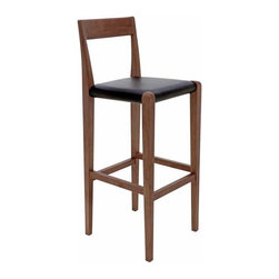 Nuevo Living - Nuevo Ameri Bar Stool - Ameri Bar Stool has a beautiful style, which is best illustrated by its design. Ameri Bar Stool is made of birch legs with walnut stain and leather upholstery. This bar stool fits perfectly into any room in your home, with its efficient construction and alluring style.