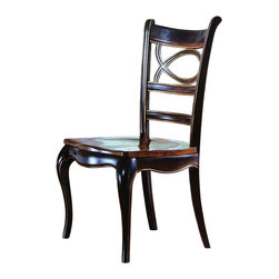 "Hooker Furniture - Preston Ridge Oval Back Chair - Set of 2 - Side - White glove, in-home delivery!  For this item, additional shipping fee will apply.  Crafted in fine hardwood solids and cherry mahogany and white ash burl veneers, Preston Ridge is enhanced with a dramatic black finish with physical distressing rub-through and contrasting panels to create a rich two-tone look with the timeworn patina of a treasured family heirloom that has been lovingly touched for many generations.  With such distinguished design elements as wood-framed doors with contrasting wood panels and generously scaled base and crown moldings, Preston Ridge will add style to any room in your home!  Wood Seat.  Arm chair - Arm to Arm (Narrowest Point): 16 1/2"" w  Arm to Arm (Widest Point): 19 7/8"" w  Arm Height: 24 7/8"" h  Seat Depth: 18 7/8"" d  Seat Height: 18"" h  Side chair - Seat Depth: 19 3/4"" d  Seat Height: 17 3/4"" h"