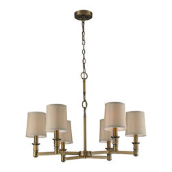 Elk Lighting - EL-31266/6 Baxter 6-Light Chandelier in Brushed Antique Brass - This series offers subtle sophistication through its unique frame design and quality details such as turned candle holders and decorative oval shaped links. Beige fabric shades combined with brushed antique brass finish acknowledge the collections historic attributes.