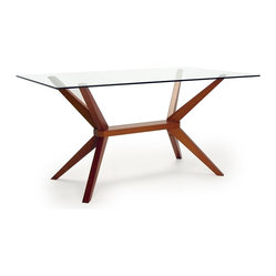 Inmod Signature - Magna Glass Dining Table, Cherry - An elegant glass top and cool geometric bottom combine to make this dining table a graceful addition to your home. But it's not about great looks alone — quality craftsmanship and a solid beech wood base mean it's as sturdy as it is stylish.
