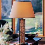 Hubbardton Forge Sierra Patina Copper Table Lamp - Rich copper tones add a beautiful glow after the sun sets in the mountains.