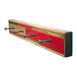 Six Finger Studios - 4 Hook Coat Rack Recycled Wood (Scarano Style), Red, 4 Hook - 4 Hook Coat Rack Recycled Wood (Scarano Style)
