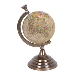 Benzara - 10 in. x 5 in. Aluminum Globe - Beautifully carved 28322 Aluminum Globe is the one such table decor item that serves as an educational aid for your kids who are pursuing geography.