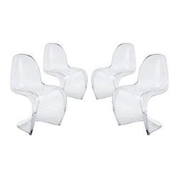 """LexMod - Slither Clear Dining Side Chair Set of 4 in Clear - Slither Clear Dining Side Chair Set of 4 in Clear - Sleek and sturdy, rock back and forth in comfort with this injection molded marvel. Constructed from a single piece of strong ABS plastic, the s shaped Slither chair can be found in many fashionable settings. Perfect for dining areas in need of a little zest, the design is versatile, fun and lively. Surprisingly cushy, choose from a selection of vibrant colors that wont fade over time. Slither is also perfect for spaces short on room. Set Includes: Four - Slither Dining Clear Chair Tough ABS Construction, Stackable up to 4 High, Ergonomically Designed Overall Product Dimensions: 23""""L x 19""""W x 33""""H Seat Height: 18""""H - Mid Century Modern Furniture."""