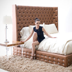 Sasha Bed by H Studio - The Sasha bed is shown fully upholstered in vinyl with swarovski crystal tufting, perfect for adding elegance and glamour to a contemporary bedroom.