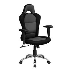 Flash Furniture - Race Car Inspired Bucket Seat Office Chair in Gray & Black Mesh - This Black & Gray Office Race Chair will put the pedal to the metal on productivity in the office. Unlike regular office chairs this chair features bucket seats for extra comfort on those long work days. Featuring mesh covered contoured seat and back/ seat height adjustment/ and height adjustable tilting arms/ this task chair is the perfect addition to any office. Take your Passion and Drive to the office with this race car inspired office chair by Flash Furniture!