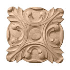 """Ekena Millwork - 3 1/2""""W x 3 1/2""""H x 5/8""""P Acanthus Rosette, Alder - 3 1/2""""W x 3 1/2""""H x 5/8""""P Acanthus Rosette, Alder. Our rosettes are the perfect accent pieces to cabinetry, furniture, fireplace mantels, ceilings, and more. Each pattern is carefully crafted after traditional and historical designs. Each piece comes factory primed and ready for your paint. They can install simply with traditional adhesives and finishing nails."""