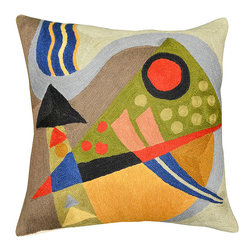 "Modern Wool - Kandinsky Composition VII Cushion Cover Hand Embroidered 18"" x 18"" - Kandinsky Pillow Cover- The colors in this abstract composition, reminiscent of the work of influential Russian artist, Wassily Kandinsky, evoke a psychic vibration, hiding a power still unknown but deeply felt in every part of the body. The expert Kashmiri needlework in this handmade, hand worked cover is of the finest chainstitch crewel, a superlative stitch. The eye-catching design deserves to be seen and experienced. Wherever you place it, it is sure to draw attention. The Kashmir wool thread makes it soft to the touch, and the texture of the embroidery is a sensory delight. Durable and easily cared for, this cover has a back button opening for easy accessibility."