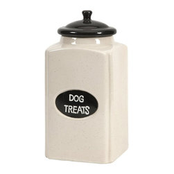 iMax - iMax Dog Large Ceramic Canister With Metal Plaque - This cream finished ceramic canister is a great place to store dog treats for your canine friends!