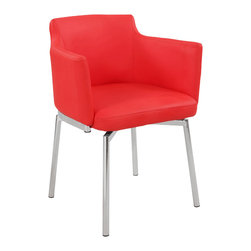 Chintaly Imports - Red Club Style Swivel Arm Chair (Set of 2) - Club style bucket memory swivel chair. Available in your choice of Black, Brown, Grey, Red, or White Polyurethane. Chrome frame and legs.