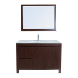 "Stufurhome - 48"" Sierra Single Sink Vanity with Carrera Marble Top - With its subtle retro feel, the 48"" Sierra Single Sink Vanity is as functional as it is beautiful. The Carrera Marble countertop lends a hint of elegance to the handsome and stately vanity, which features a cocoa-toned finish. Double drawers and doors conceal generous storage below, making it easy to keep your space organized. A matching mirror is included to create an impressively coordinated set. Dimensions: 48 in. x 23 in."