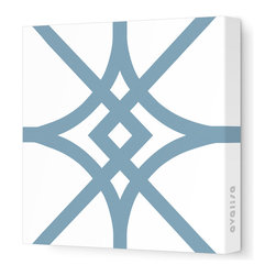 """Avalisa - Pattern - Diamond Stretched Wall Art, 28"""" x 28"""", Blue Gray - Here's a real gem for your walls. Bold, graphic lines in a rainbow of color choices form an overlapping, stylized diamond pattern on white, stretched fabric. Pick one in your choice of sizes or get four or more to create a dazzling grid."""