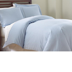 None - 800 Thread Count Damask Stripe 3-piece Duvet Cover set - Add an elegant touch to your bedroom with this exquisite 800 thread count 3-piece duvet set. Made from 55-percent cotton and 45-percent polyester,this set is available in a variety of colors that will perfectly complement your current bedroom decor.