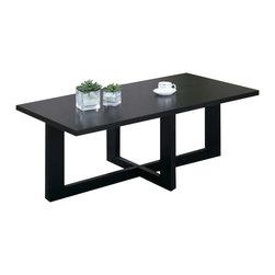 Monarch Specialties - Monarch Specialties I 7818P Black Veneer Top 3 Piece Coffee Table Set - Cocktail Table (1), End Table (2)