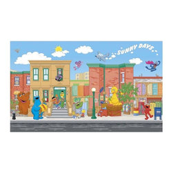 RoomMates Peel & Stick - Sesame Street Chair Rail Prepasted Mural - On my way to where the air is sweet... Can you tell me how to get to Sesame Street? Now Sesame Street and its cast of characters can be right on your child's wall! This XL wall mural makes it easy to add decor that will make a statement that your child will love. Easy to apply, and can be removed with no mess if necessary. A perfect match to any of our Sesame Street wall decals..