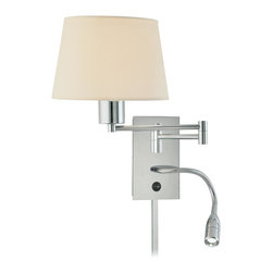 George Kovacs - George Kovacs P478-077 Swing Arm Wall Sconce with Adjustable LED Reading Light - Features Adjustable 3 Watt LED Reading Light