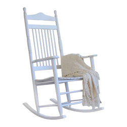 Dixie Seating Classic Indoor/Outdoor Rocker, White - This is a classic indoor / outdoor standard adult slat porch rocking chair. The chair is made of solid ash hardwood and this chair is available in 6 colors & unfinished. This chair measures 46 inches tall by 26 inches wide and 31 inches deep. Comes in the RTA (Ready to Assemble) format and features easy assembly, about 30 minutes. Made in the USA!