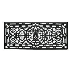 Momentum Mats - Renaissance Pineapple Rectangle Rubber Door Mat (17 x 41) - Made of heavy-duty rubber with thick scrollwork that creates a look of wrought iron,this doormat is excellent for double doors and makes a beautiful addition to any porch,patio area or door. Use this mat to catch dirt or for decoration.