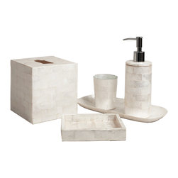 Six Piece Ivory Brick Capiz Bathroom Set - Clean, pure colors look lovely and pristine in the bath.  Bring your master bath a luxe shimmer or make the half-bath for guests an inviting space by including the Ivory Brick Capiz Bathroom Set.  This splendid arrangement of vanity appointments includes half a dozen white-as-marble elements which look tasteful and polished when arranged on your bathroom counter and set an uptown tone for the most vital of rooms.