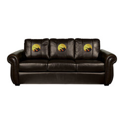 Dreamseat Inc. - Hunter with Dog Chesapeake Brown Leather Sofa - Check out this Awesome Sofa. It's the ultimate in traditional styled home leather furniture, and it's one of the coolest things we've ever seen. This is unbelievably comfortable - once you're in it, you won't want to get up. Features a zip-in-zip-out logo panel embroidered with 70,000 stitches. Converts from a solid color to custom-logo furniture in seconds - perfect for a shared or multi-purpose room. Root for several teams? Simply swap the panels out when the seasons change. This is a true statement piece that is perfect for your Man Cave, Game Room, basement or garage.