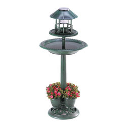 Koolekoo - Verdigris Garden Centerpiece, Birdbath, Planter & Solar Night Light - Fantastic three-in-one decoration adds liveliness to any garden! Lightweight yet sturdy enough for years of enjoyment, this faux-metal treasure brings together a generous birdbath, a solar night light, and a place for four of your favorite plants.