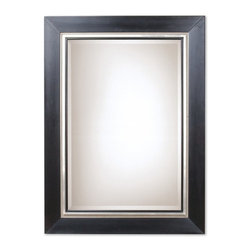 Uttermost - Uttermost 13131 B Warhol Transitional Rectangular Mirror - This Solid Wood Frame Features A Smooth, Matte Black Finish. The Frame Is Accented By A Silver Leaf Bead And Rim. A Black Fillet Highlights The Edge Of The Beveled Mirror. May Be Hung Either Horizontal Or Vertical.
